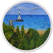 Summer, Conneaut Ohio Lighthouse Round Beach Towel