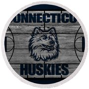 Connecticut Huskies Round Beach Towel