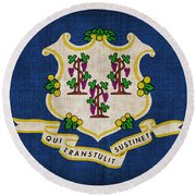 Connecticut State Flag Round Beach Towel