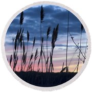 Connecticut Sunset With Reeds Series 4 Round Beach Towel