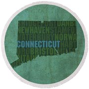 Connecticut Word Art State Map On Canvas Round Beach Towel