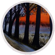 Conrad Road Sunrise Round Beach Towel