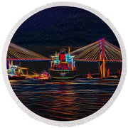 Container Ship Arriving At Savannah Round Beach Towel