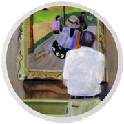 Contemplating Gauguin Round Beach Towel