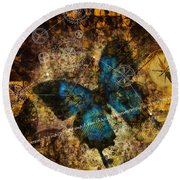 Contemplating The Butterfly Effect  Round Beach Towel