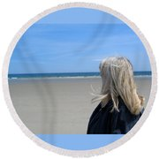 Contemplating The Stillness Round Beach Towel