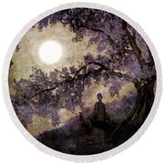 Contemplation Beneath The Boughs Round Beach Towel
