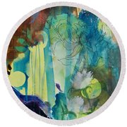 Round Beach Towel featuring the painting Continuum by Robin Maria Pedrero