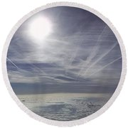 Contrail Panorama Round Beach Towel by Greg Reed