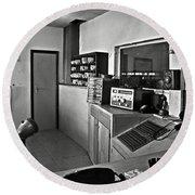 Control Room In Alcatraz Prison Round Beach Towel