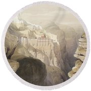Convent Of St. Saba, April 4th 1839 Round Beach Towel