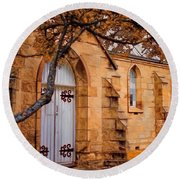Convict Built Church 1873 Round Beach Towel by Wallaroo Images