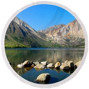 Convict Lake Panorama Round Beach Towel