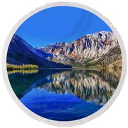 Convict Lake Reflections Round Beach Towel