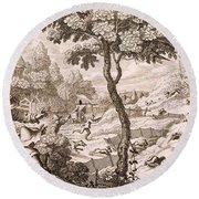 Cony Catching, Engraved By Wenceslaus Round Beach Towel