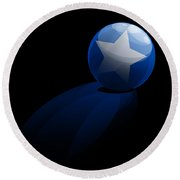 Round Beach Towel featuring the digital art Blue Ball Decorated With Star Grass Black Background by R Muirhead Art