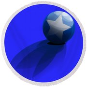 Round Beach Towel featuring the digital art Blue Ball Decorated With Star Grass Blue Background by R Muirhead Art