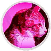 Round Beach Towel featuring the photograph Cool Cat by Clare Bevan