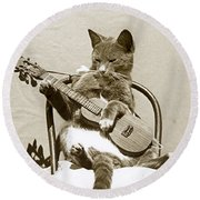 Round Beach Towel featuring the photograph Cool Cat Playing A Guitar Circa 1900 Historical Photo By Photo  Henry King Nourse by California Views Mr Pat Hathaway Archives