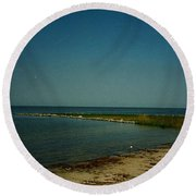 Round Beach Towel featuring the photograph Cool Day For A Swim by Amazing Photographs AKA Christian Wilson
