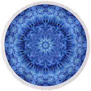 Round Beach Towel featuring the digital art Cool Down Series #2 Frozen by Lilia D