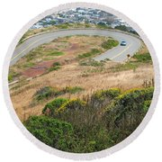 Cool Drive On Twin Peaks - San Francisco Round Beach Towel by Connie Fox