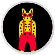 Cool For Cats In Red Dungarees Round Beach Towel