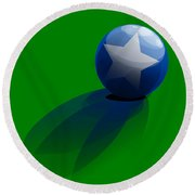 Round Beach Towel featuring the digital art Blue Ball Decorated With Star Grass Green Background by R Muirhead Art