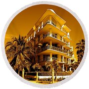 Cool Iron Building In Miami Round Beach Towel