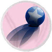 Blue Ball Decorated With Star Round Beach Towel