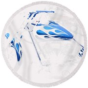 Cool Motorcycle Round Beach Towel