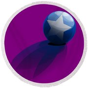 Round Beach Towel featuring the digital art Blue Ball Decorated With Star Purple Background by R Muirhead Art