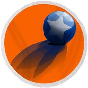 Round Beach Towel featuring the digital art Blue Ball Decorated With Star Orange Background by R Muirhead Art