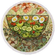 Cool Summer Salad Round Beach Towel by Jen Norton
