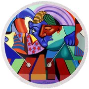 Round Beach Towel featuring the painting Cool Vibes by Anthony Falbo