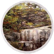 Cool Waterfall Round Beach Towel by Dorothy Maier