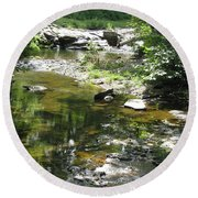 Round Beach Towel featuring the photograph Cool Waters by Ellen Levinson