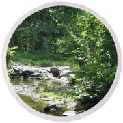 Round Beach Towel featuring the photograph Cool Waters II by Ellen Levinson