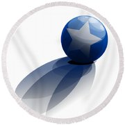 Round Beach Towel featuring the digital art Blue Ball Decorated With Star Grass White Background by R Muirhead Art