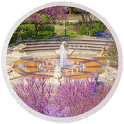 Coolidge Park Fountain In Spring Round Beach Towel