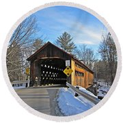 Coombs Covered Bridge Round Beach Towel by MTBobbins Photography