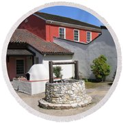 Round Beach Towel featuring the photograph Cooper-molera Adobe by James B Toy