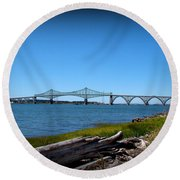 Coos Bay Bridge Round Beach Towel