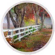Coosaw Horse Fence Round Beach Towel