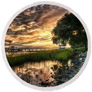 Coosaw Plantation Sunset Round Beach Towel