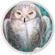 Copper Snowy Owl Round Beach Towel