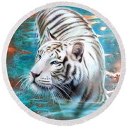 Copper White Tiger Round Beach Towel
