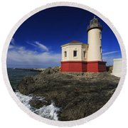 Coquille River Lighthouse 3 Round Beach Towel