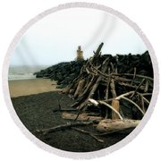 Coquille River South Jetty Round Beach Towel