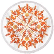 Coral Crab Mandala Round Beach Towel by Stephanie Troxell